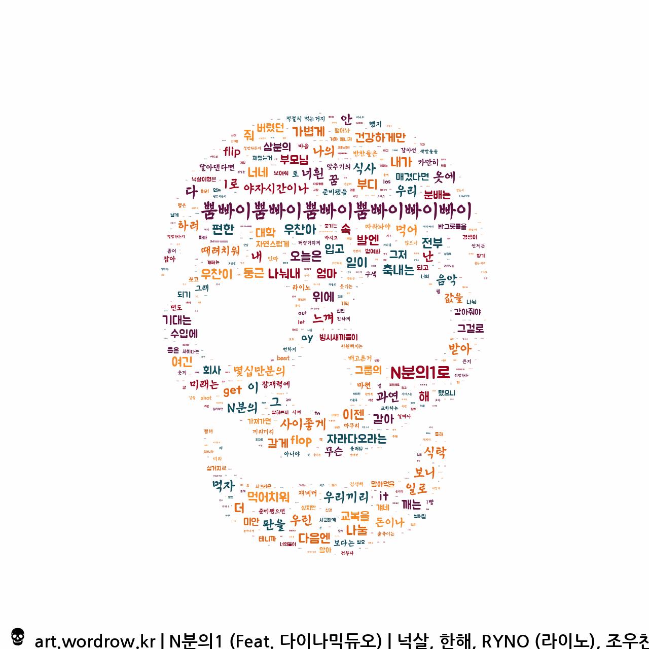 워드 클라우드: N분의1 (Feat. 다이나믹듀오) [넉살, 한해, RYNO (라이노), 조우찬]-35